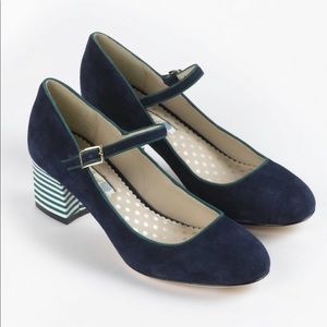 Boden Blue Suede Mary Janes 40 NWOB